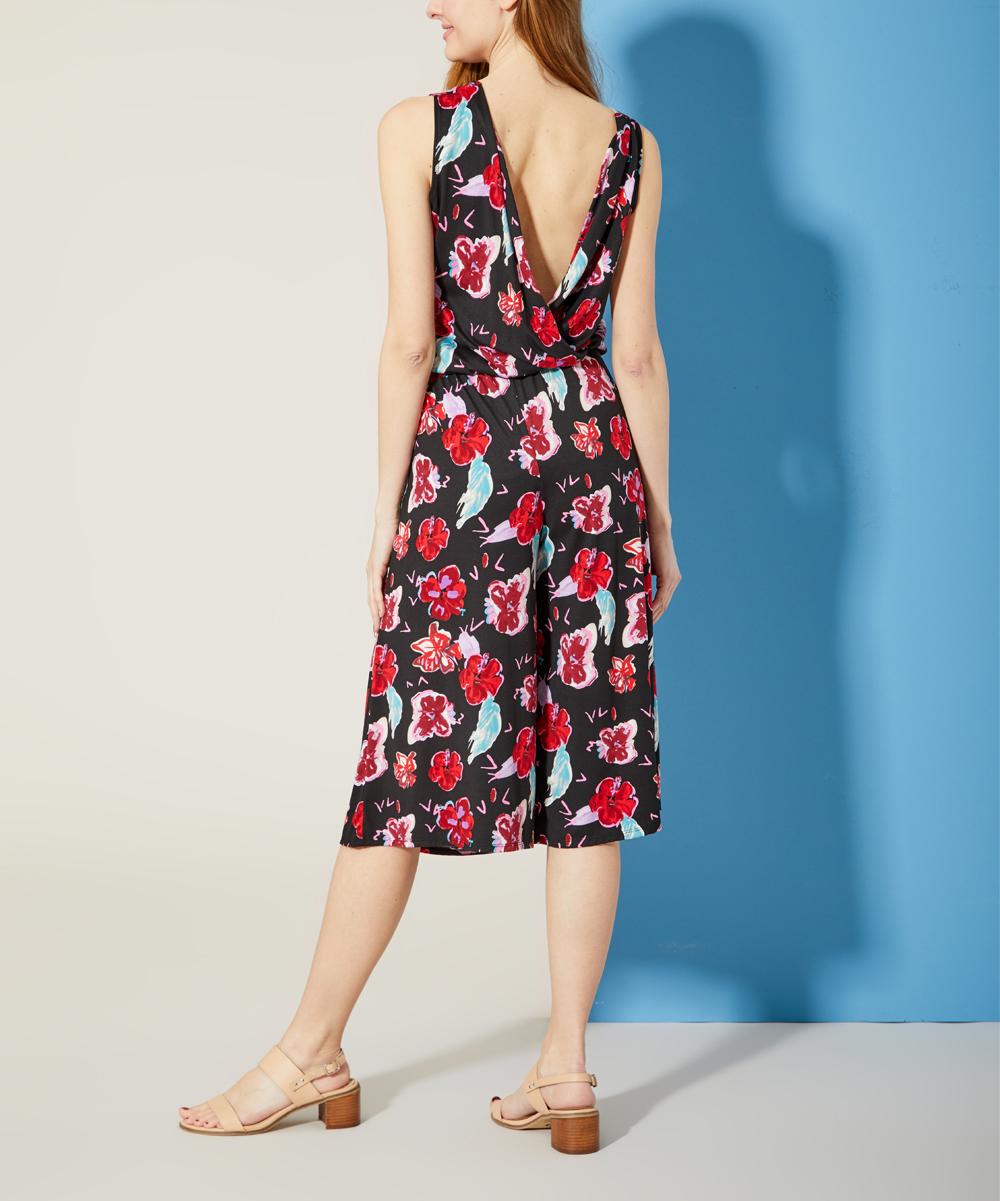 7daf12f6d254 Bella Floré Black   Berry Floral Sleeveless Wide-Leg Jumpsuit ...