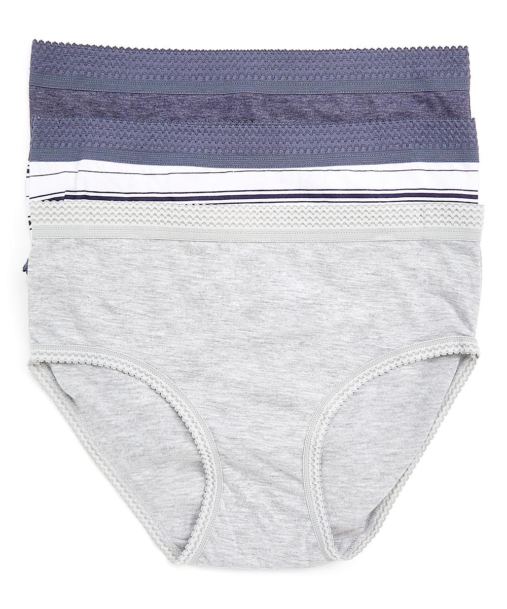 kathy ireland Women's Underwear white - Navy & Gray Stripe Tag-Free Briefs Set - Plus