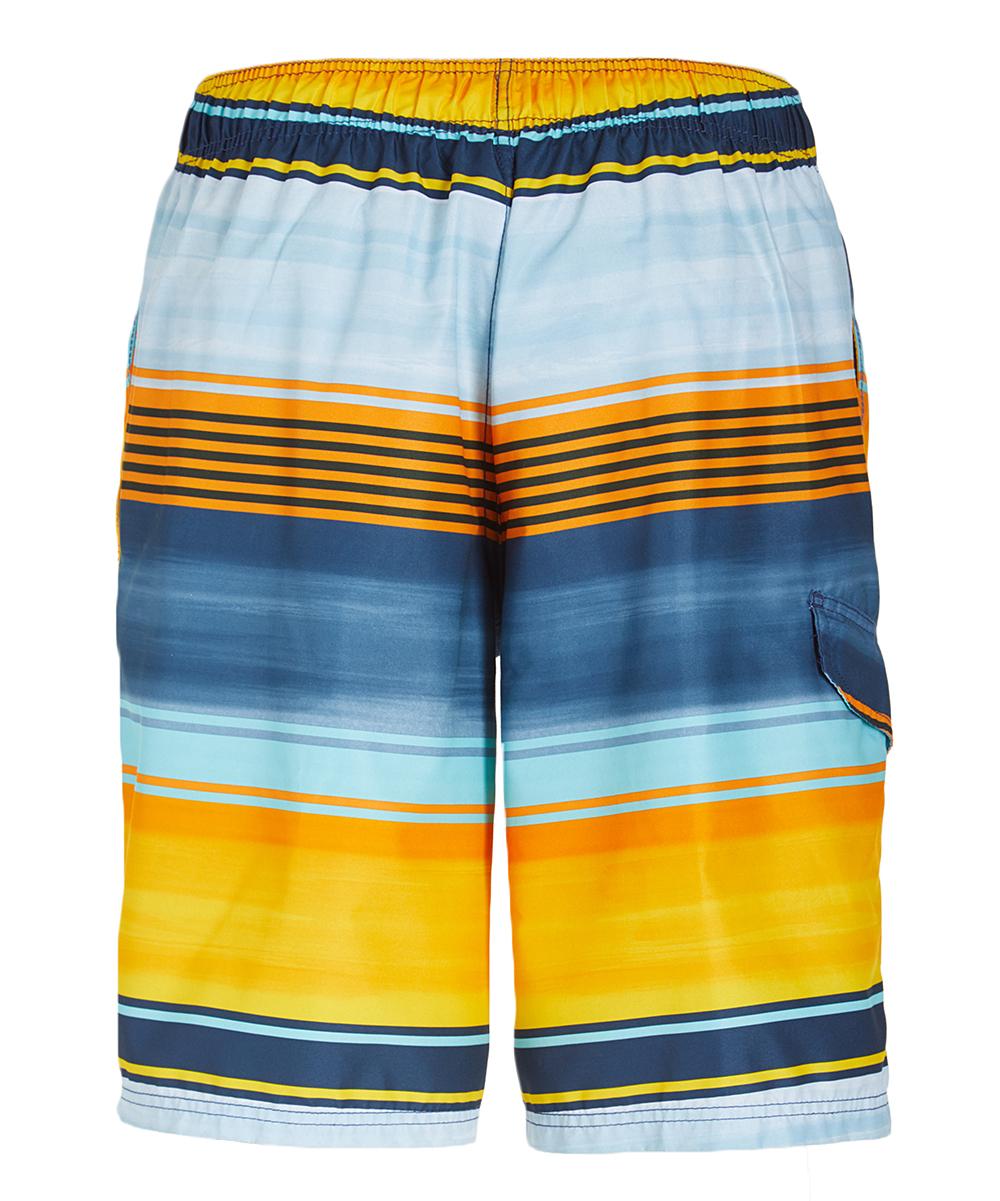 2e5fe122ce Kanu Surf Navy & Orange Avalon Stripe Swim Trunks - Men | Zulily