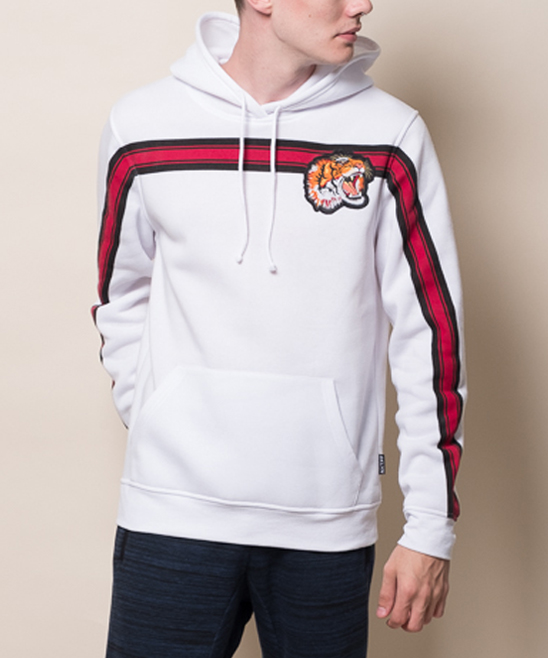 b9af9414c ... Mens WHT White & Red Chest-Stripe Tiger-Appliqué Fleece Hoodie -  Alternate Image