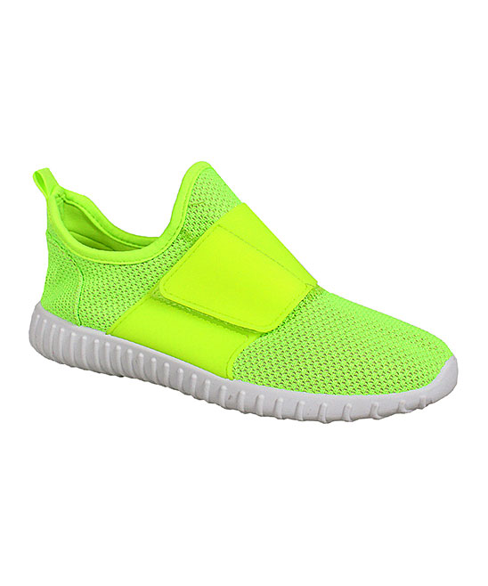 Yoki Women's Sneakers LIME - Lime Wide-Strap Sneaker - Women