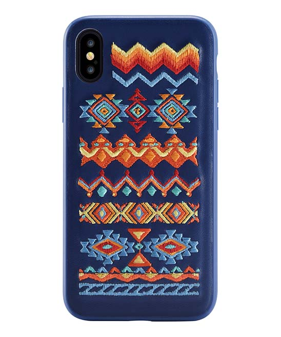 Blue & Orange Geometric-Embroidered Case for iPhone X