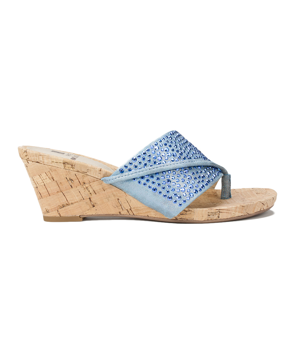 456d3b65d White Mountain Blue Rhinestone-Strap Alexandria Wedge Sandal - Women ...