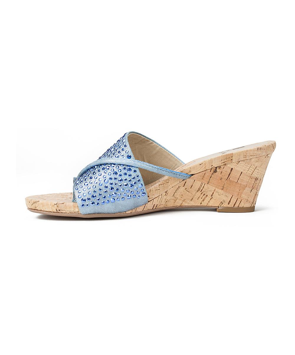 110124e62 ... Womens 400- BLUE Blue Rhinestone-Strap Alexandria Wedge Sandal -  Alternate Image 3 ...