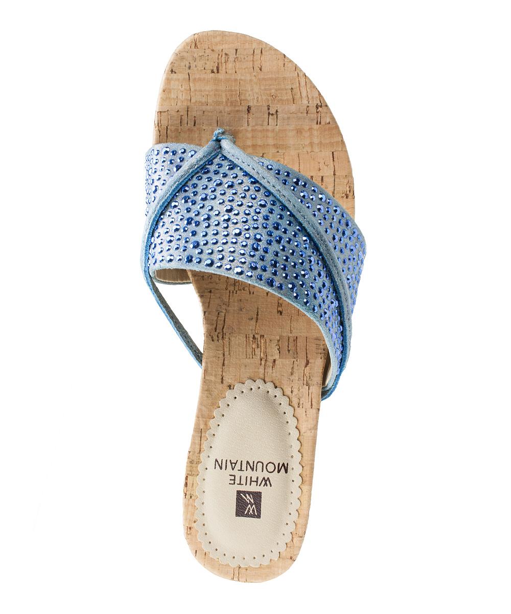 0bbdcda78 ... Womens 400- BLUE Blue Rhinestone-Strap Alexandria Wedge Sandal -  Alternate Image 4 ...