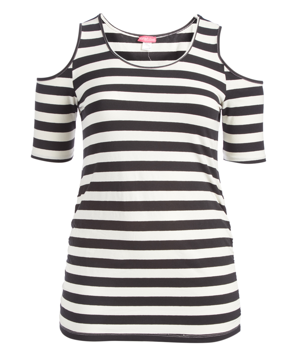 7f86662ac9d8c Penelopes Closet Off-White   Black Stripe Cold-Shoulder Top - Plus ...