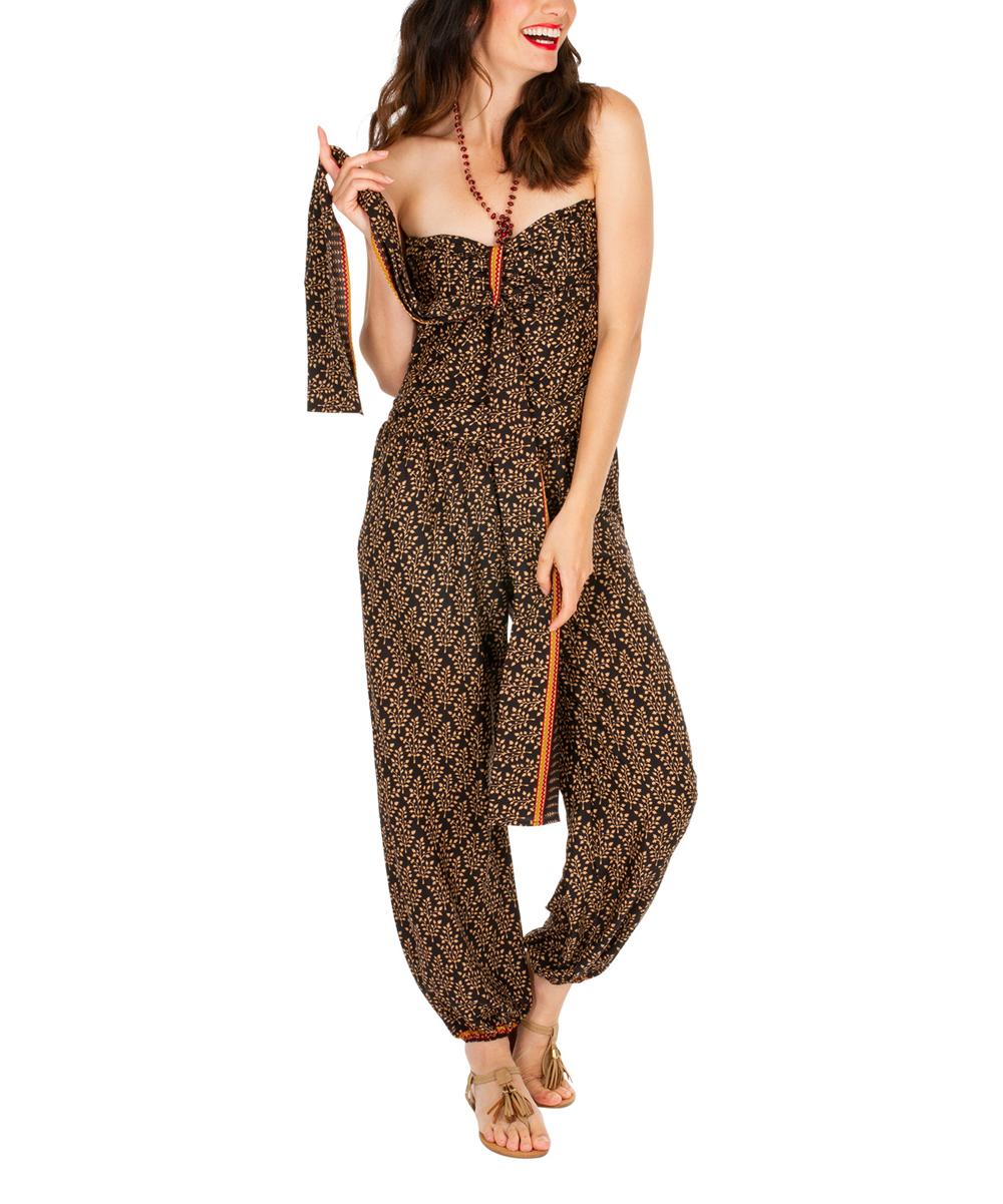 8d485fa4a36d Aller Simplement Black   Cream Abstract Sleeveless Jumpsuit - Women ...