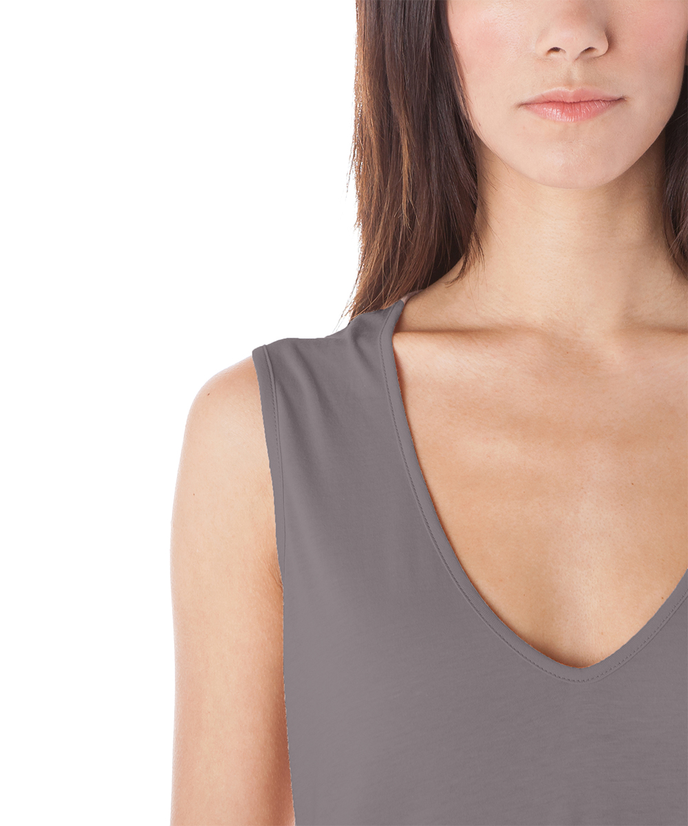 57d61e9cb0b87 ... Womens Charcoal Charcoal Wide-Strap Sleeveless Top - Alternate Image 2  ...