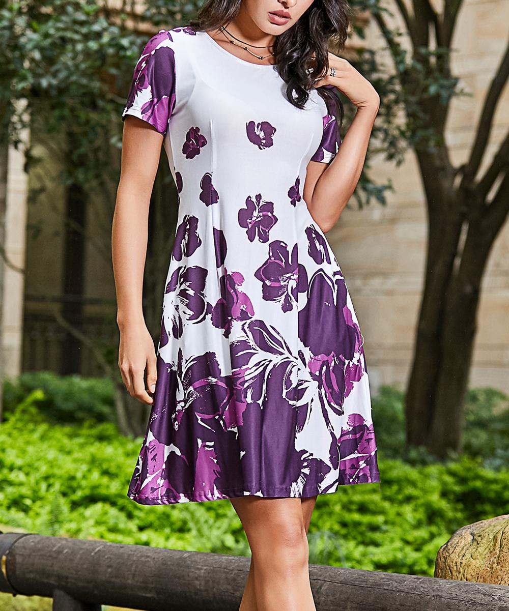 3b0e3e029ce2 Reborn Collection White   Purple Floral Short-Sleeve Side-Pocket ...