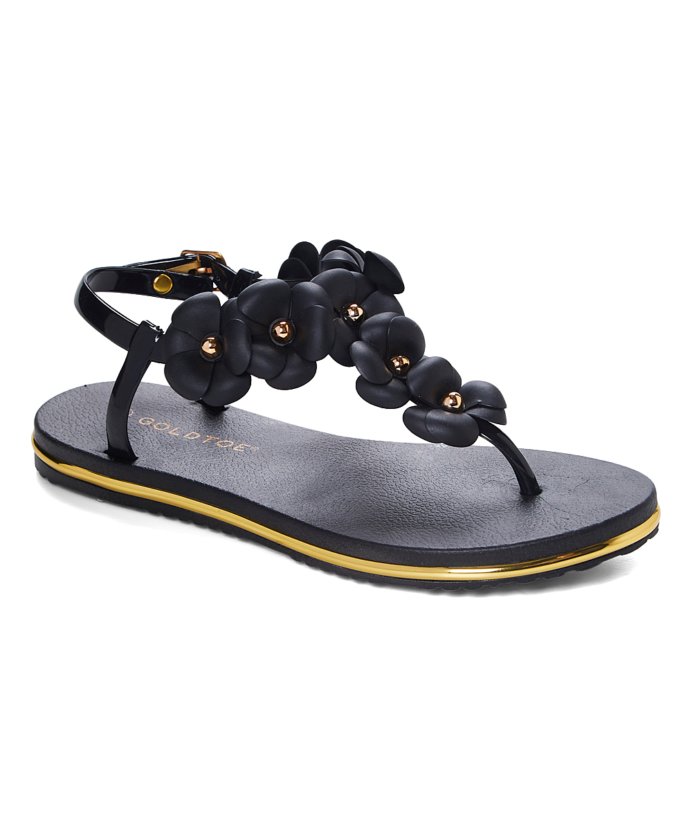 923aaee3bf3 GoldToe Black Floral-Accent Ankle-Strap Thong Sandal - Women
