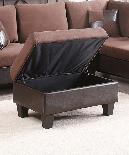 Awesome Nathaniel Home Chocolate Champion Bonded Leather Storage Ottoman Theyellowbook Wood Chair Design Ideas Theyellowbookinfo