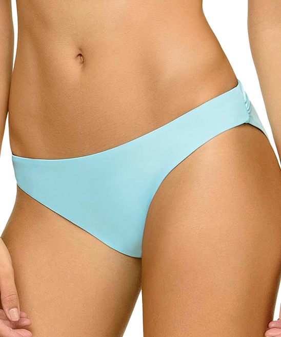 Light Blue Ruched Full-Coverage Bikini Bottoms - Women
