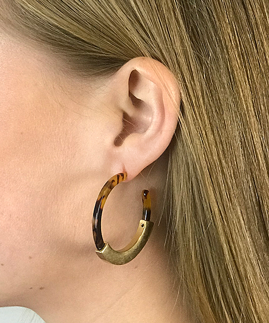 5e7a52319e196 Funky Monkey Brown Tortoise & Goldtone Hoop Earrings