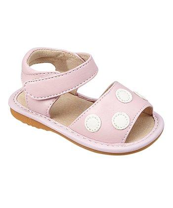 85906737c8 Light Pink   White Polka Dot Squeaker Sandal - Girls