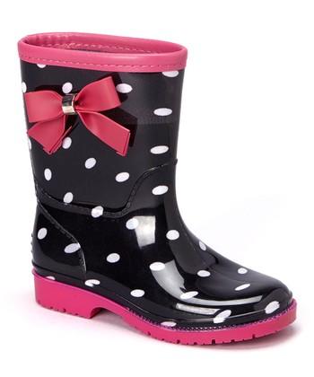 Black & Fuchsia Poco Rain Boot - Girls
