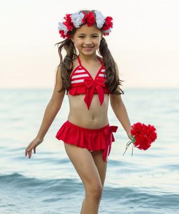 007a44787b810 Red & White Stripe Bikini - Girls