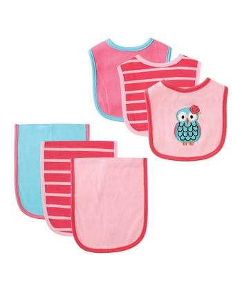 d9846cc59f4 Pink   Aqua Owl Bib   Burp Cloth Set