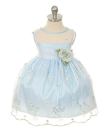 d190bdfde Blue Floral Embroidered Dress & Flower Pin - Newborn. Red Sequin Overlay  Dress - Infant & Girls