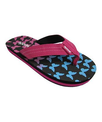 4ebb19659 Black Butterfly Flip-Flop - Girls