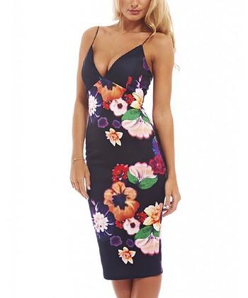 c1e9d25c54 Black Floral V-Neck Strapless Dress - Women