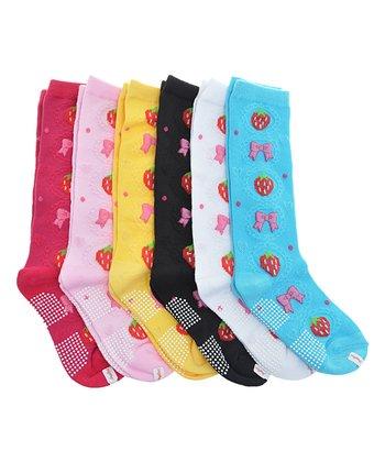 422deaa17ba Blue   Black Strawberry Non-Skid Six-Pair Knee Socks Set - Kids