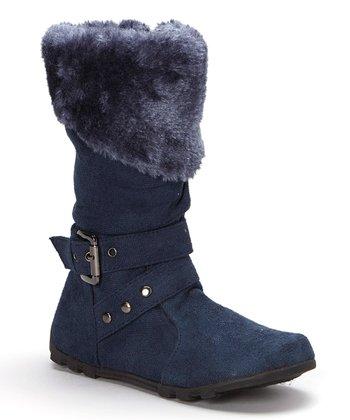 e08718a28 Blue Fuzzy Collar Bella Boot - Girls