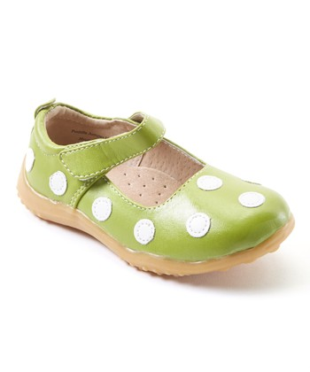 626819d20f99 Spring Green   White Dot Leather Mary Jane - Girls