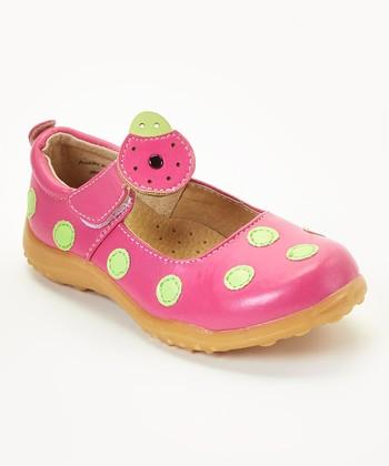 812078880078 Hot Pink   Lime Ladybug Leather Mary Jane - Girls
