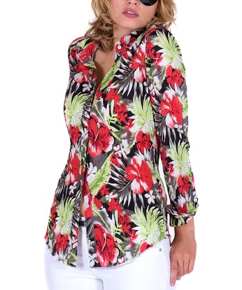 5fb1dd21 Persimmon Floral Button-Up - Women