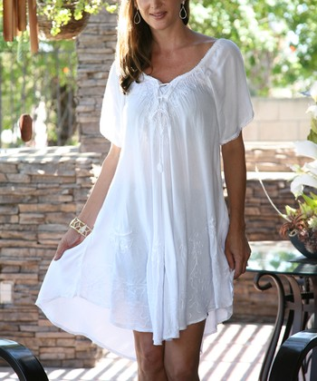 3933911ad24 White Embroidered Lace-Up Scoop Neck Dress - Plus