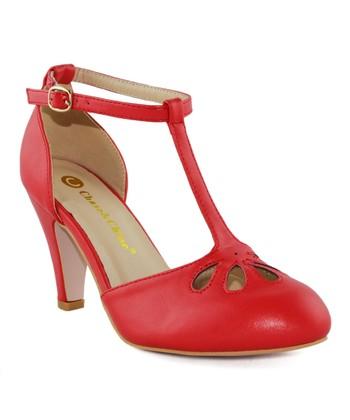 f1815de8745a Red Cutout Kimmy T-Strap Pump - Women