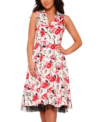 ac9beb015d5 White   Red Floral Sleeveless Dress - Women