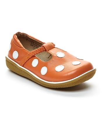 4883830711f3 Orange   White Dot Leather T-Strap Flat - Girls