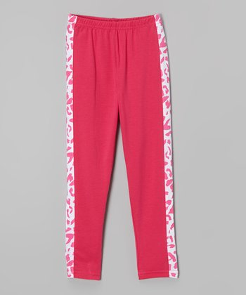 4cc39ac06e62a Fuchsia Leopard Stripe Leggings - Girls