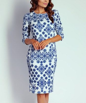 3d01da0ea3741 White   Blue Geometric Floral Split-Hem Bodycon Dress - Women