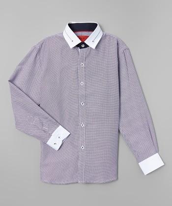 7cf561998 Navy Contrast-Trim Slim-Fit Button-Up - Toddler & Boys