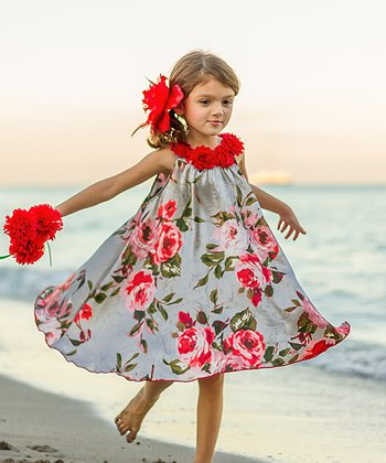 a73a3876f36 Silver Floral Swing Dress - Girls
