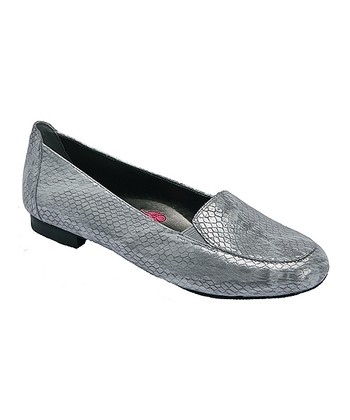 6b8a37d88b3 Silver Snake-Embossed Leather Regan Loafer - Women