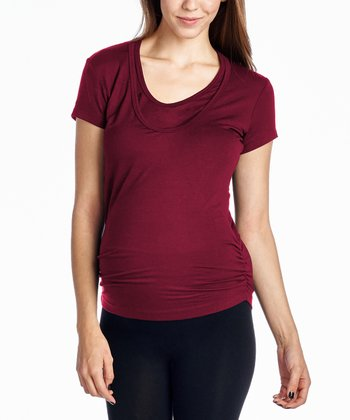 ed371661bd035 Burgundy Ruched Maternity/Nursing Scoop Neck Top