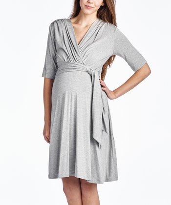 8e966ea229dc9 Gray Keyhole Maternity/Nursing Surplice Dress. Mustard Ruched Maternity/Nursing  Scoop Neck Top