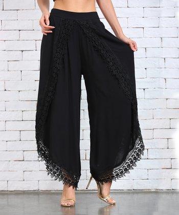 3cc003be993c42 Black Lace-Trim Tulip Pants - Women   Plus