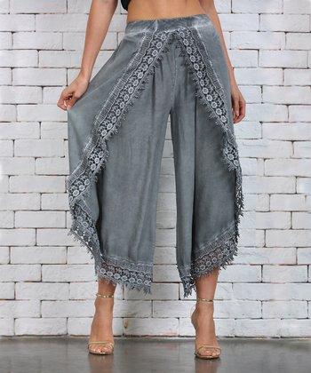 31d1a3a6647180 Gray Lace-Trim Tulip Pants - Plus