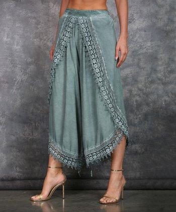 312c3e273dd6a Green Lace-Trim Tulip Pants - Plus
