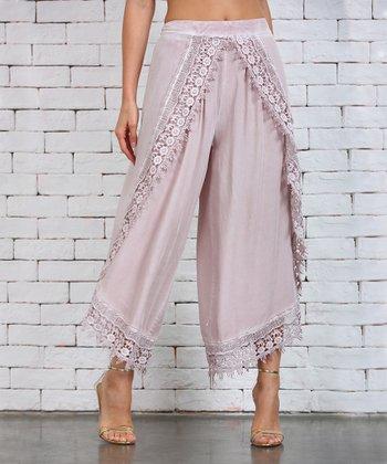 1231ce53bb2cf Pink Lace-Trim Tulip Pants - Plus