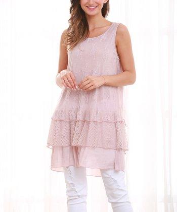 edffd0a26964e Pink Lace Ruffle Sleeveless Top - Women