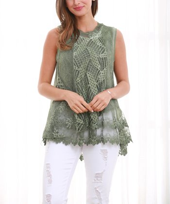 26878514f5242 Green Floral Lace Sleeveless Top - Plus