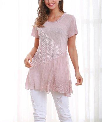 18d241300e875 Pink Lace Layer Top - Plus