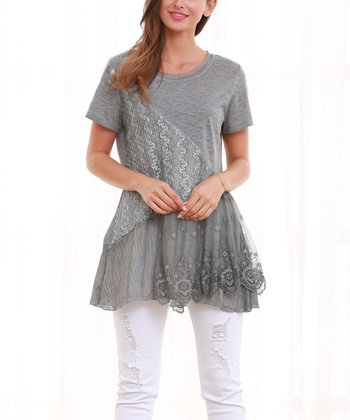 02b2da47a5d1c Gray Lace Layered Short-Sleeve Top - Women