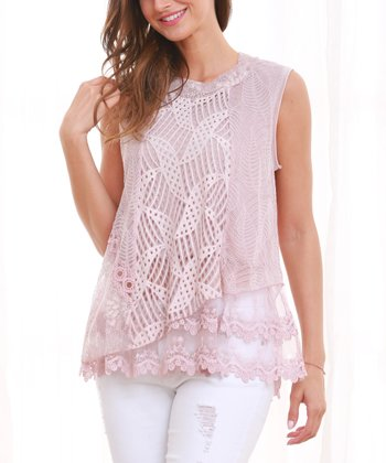 cea343258d4077 Pink Lace Layer Tank - Women   Plus · Pink Lace Sleeveless Tunic ...