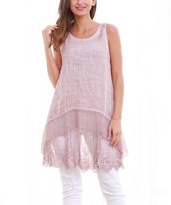 f2c9d298b2a0aa Pink Lace Sleeveless Tunic - Women   Plus